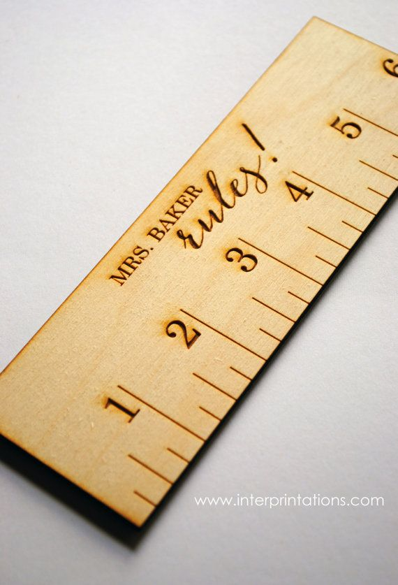"""Personalized 6"""" Wood Ruler, Teacher Gift, Laser Engraved & Laser Cut, by InterPRINTations on Etsy, $6.50"""