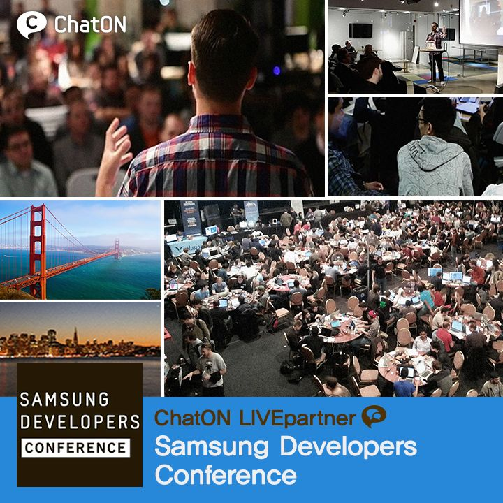 [ChatON LIVEpartner] Samsung Developers Conference / We introduce you 'The ChatON LIVEpartner Samsung Developer's Conference'. Samsung Developer's Conference is an annual conference which connect and collaborate with industry visionaries,  Samsung executives, technical leaders, and fellow developers; and Learn about new Samsung tools, SDKs.오늘부터(2013.10.28) 이틀간 열리는 첫 번째 Samsung Developers Conference의 생생한 현장 소식을 받아보세요!