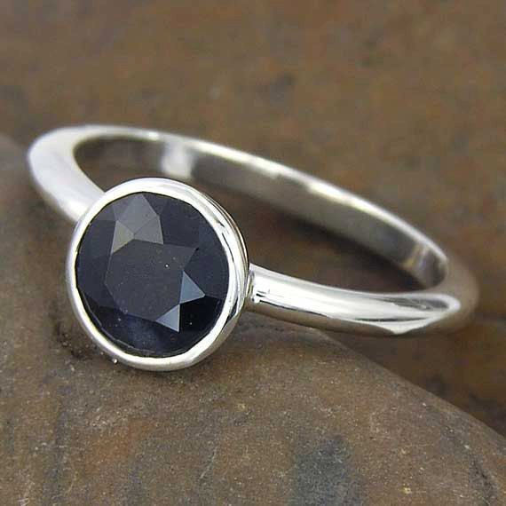 Hey, I found this really awesome Etsy listing at https://www.etsy.com/listing/84760915/black-sapphire-solitaire-ring-round