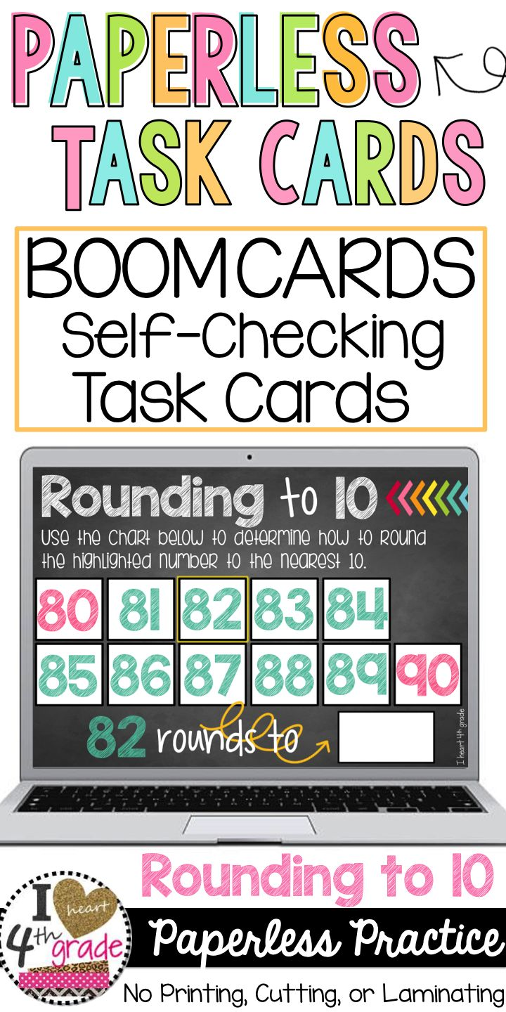 Rounding to 10 | Digital Task Cards | Boom Cards | 3rd grade math | Rounding for 3rd grade | Rounding Task Cards | This set of 50 task cards is hosting on Boom Learning.  Each card is paperless and self-checking.  ($)