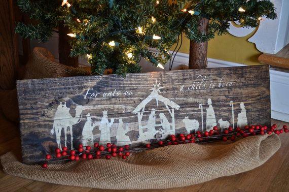 Presepio in legno rustico segno decorazione di di DaisywoodDesign