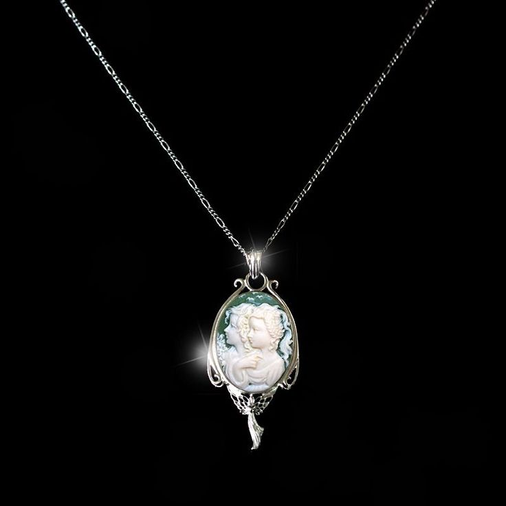 Sterling Silver 925 Slim Pendant TWIN ANGELS Cameo Fine Necklace + Chain Gift