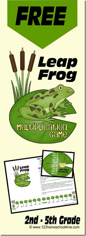 Make practice fun with this FREE Leap Frog Multiplication game for 2nd-5th graders from 123 Homeschool 4 Me.    Click here for more free