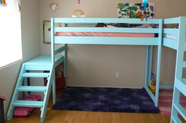 Two Camp Loft Beds | Do It Yourself Home Projects from Ana White  This is what I would like to do for my youngest two girls who share a room.