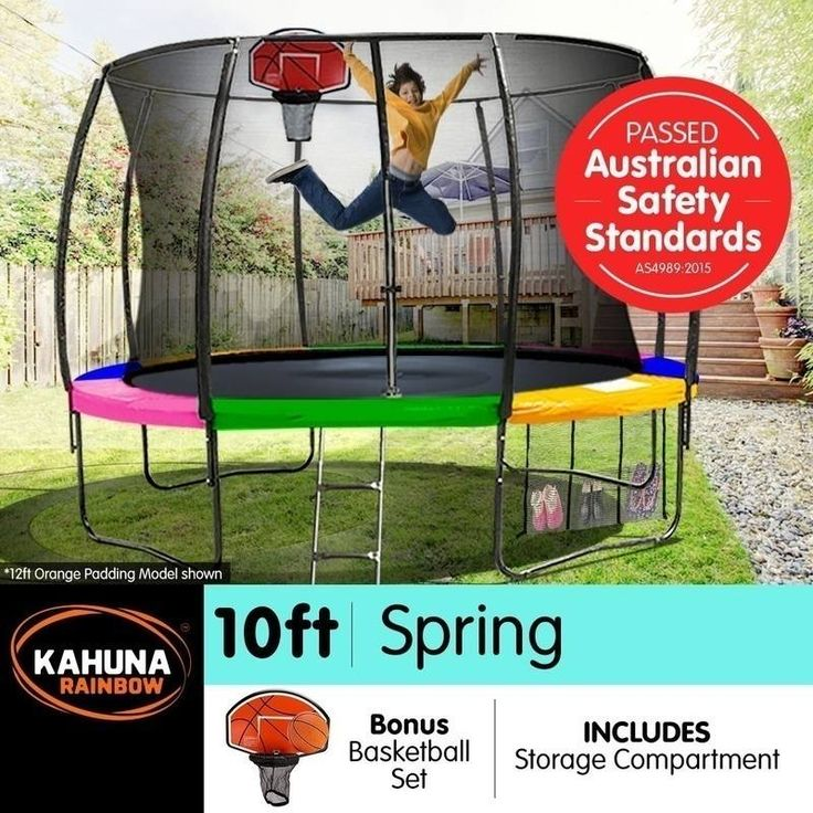 Kahuna 10ft Trampoline with Net Enclosure - Rainbow | Buy 10ft Trampoline