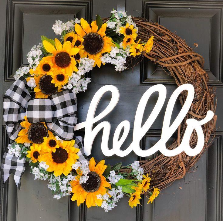 Summer Sunflower Wreath Diy Front Door Wreath Diy Fall Wreath Halloween Front Door Decorations Sunflower Wreaths