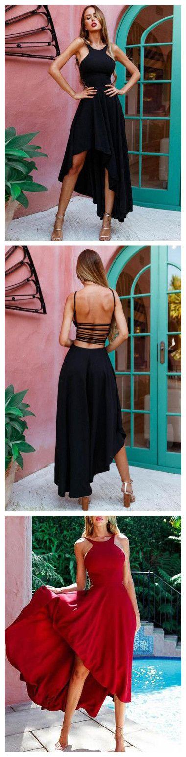 CHIC BLACK PROM DRESS A-LINE HIGH LOW CHIFFON SIMPLE PROM DRESS EVENING DRESS AM816 #amyprom #fashion #love #formaldress #beautifuldress #longpromdress #modest