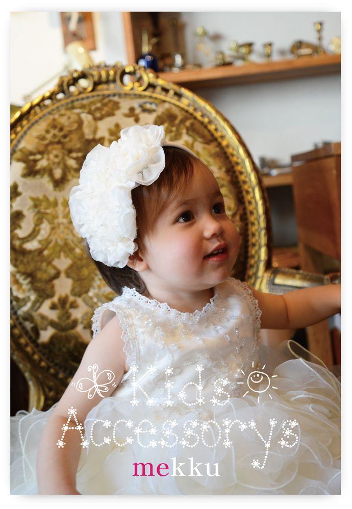 【子供用ヘアアクセサリー】フラワーヘアバンド ホワイト[kd009w]/ウェディングアクセサリー~mekku~【メック】