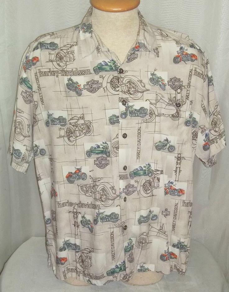 King Of Cars >> Harley Davidson Camp Shirt Mens Large Motorcycle Side Car FatBoy Road King s/s | Mens Vintage ...
