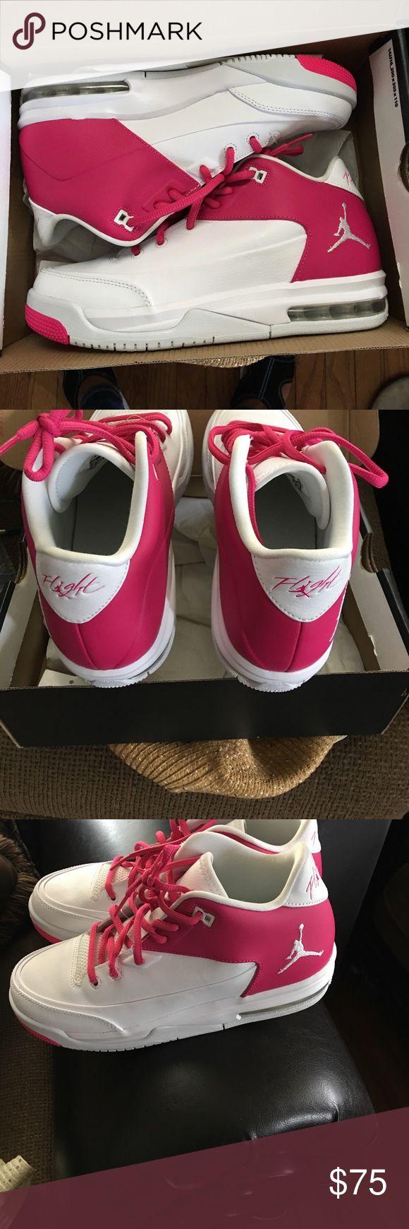 Pink white Jordan Pink and white 6 1/2 Jordan flights Jordan Shoes Sneakers