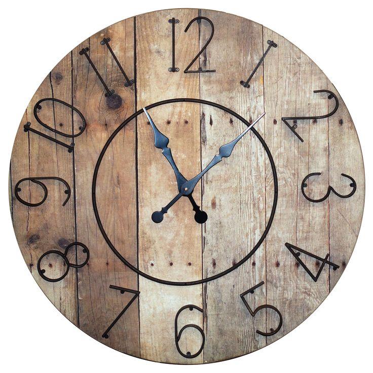 Wood 32 Clock W/ Metal Numbers Vip International Wall Mounted Clock Clocks Home Decor
