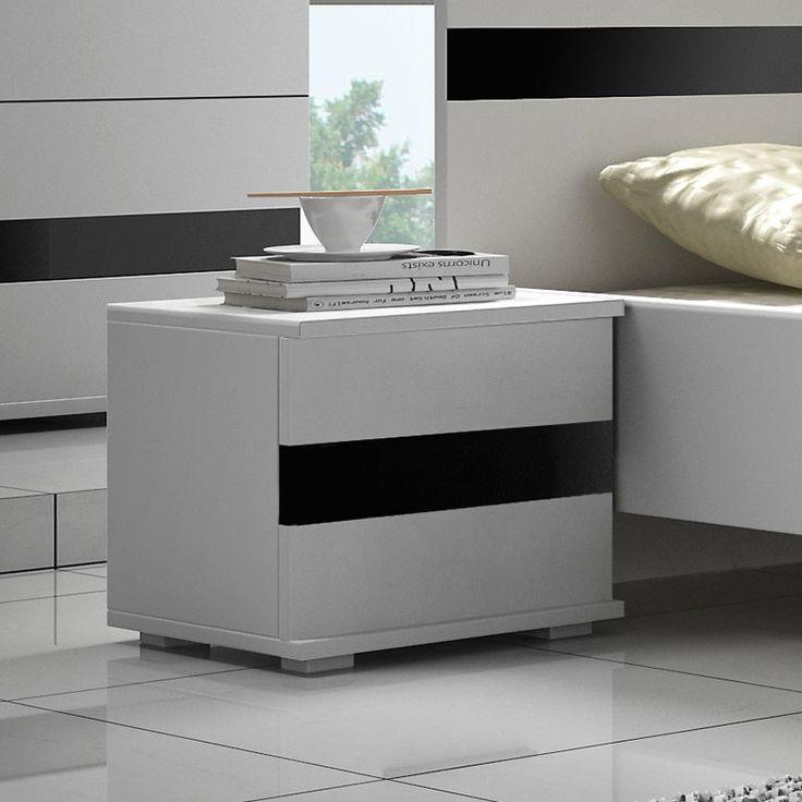 table de chevet blanc et noir laqu design rimmel - Table De Chevet Laque Blanc Brillant