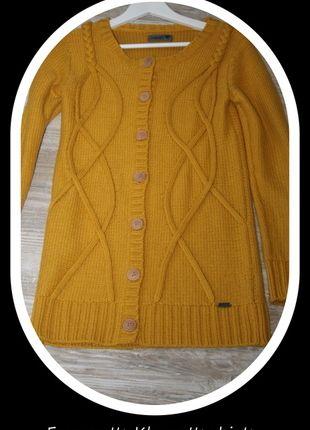 Kaufe meinen Artikel bei #Kleiderkreisel http://www.kleiderkreisel.de/damenmode/cardigans/66086246-numph-longstrickjacke-cardigan-senfgelb-aus-omas-kleiderkiste