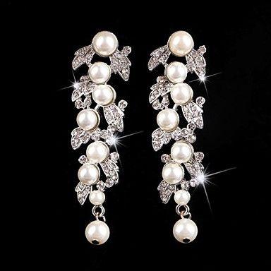 Vintage Party Wedding Princess Birde Crown Rhinestone Crystal Pearl Long Silver Earring 3014364 2017 – $14.93