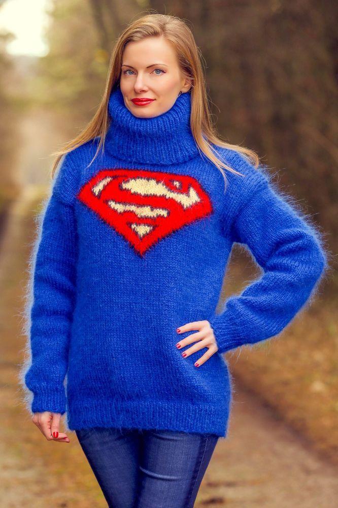 Blue SUPERMAN sweater hand knitted fuzzy mohair turtleneck jumper SUPERTANYA #SuperTanya #CrewneckTurtleneck