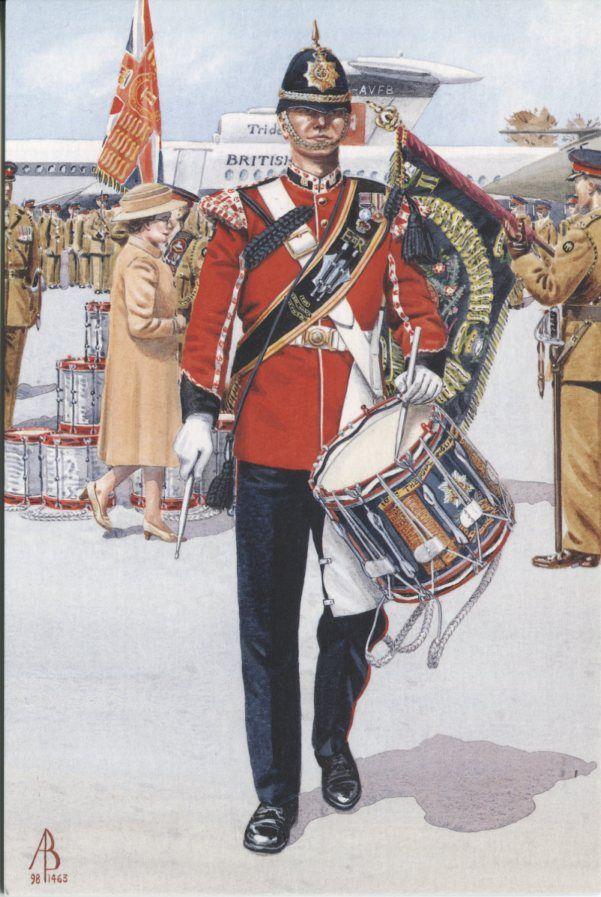 Alix Baker Postcard - AB29/3 Side Drummer (Leading Tipper), 1st Battalion, The Royal Anglian Regiment, Colours Parade, Duxford 1995