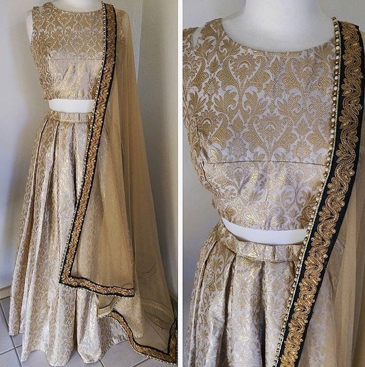 Image result for cream gold brocade lehenga
