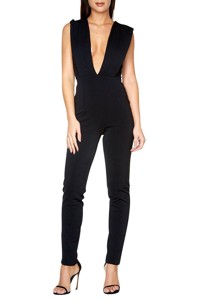 Deep V-Neck Bodycon Jumpsuit