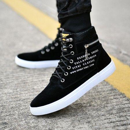 men's fashion premium black suede leather lace up zipper