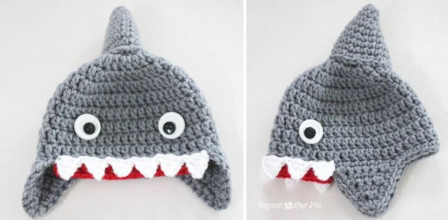 Cute crochet Shark hat pattern from the Repeat Crafter Me blog - pattern for children and adults!