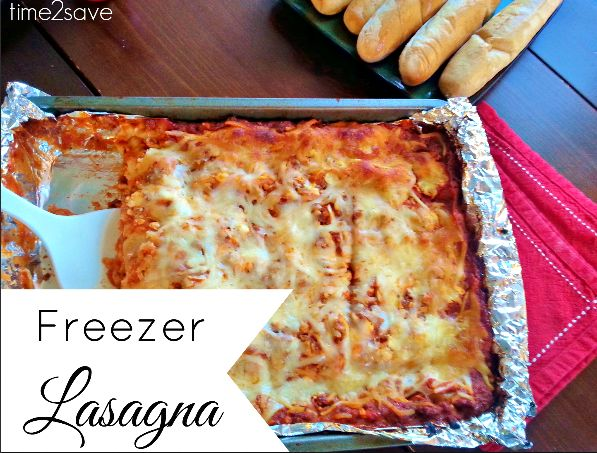 Freezer Lasagna Recipe - chock full of cheeses, meat and carbs - perfect for bringing the family around the table on busy nights!