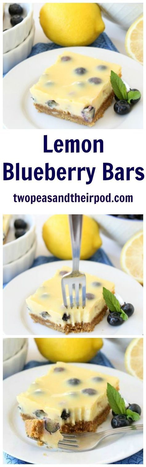 Lemon Blueberry Bars Recipe on http://twopeasandtheirpod.com These easy lemon bars with a graham cracker crust are bursting with juicy blueberries! They are a family favorite dessert!
