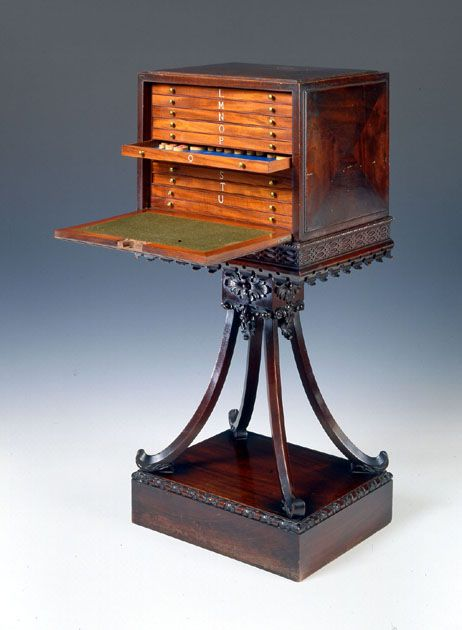 A pair of George III mahogany Collector's cabinets, circa 1760, attributed to Mayhew & Ince