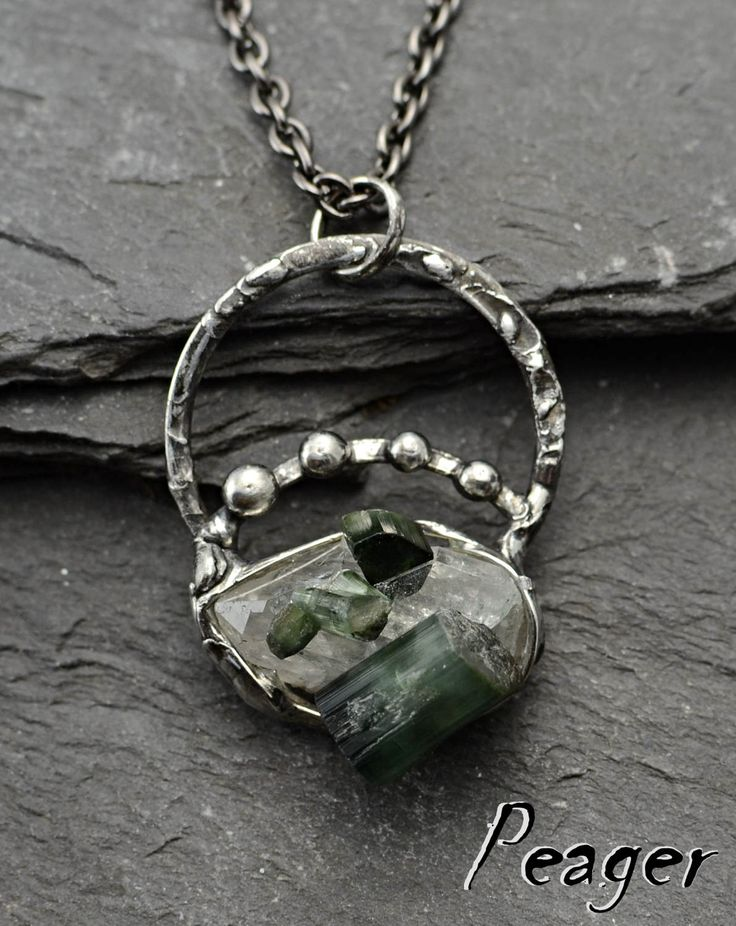 Green Tourmaline pendant,Raw stone pendant,Quartz pendant,Ooak pendant,soldered pendant,Gemstone pendant,Tiffany technique,Women necklace by PeagerFantasyWorld on Etsy