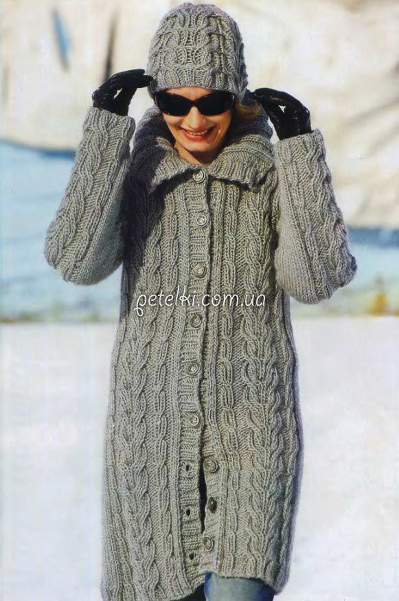 Вязаное пальто и шапка спицами. Описание вязания, схема