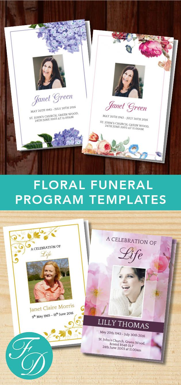 Floral Printable Funeral programs ready to edit & print. Simply purchase your funeral templates, download, edit with Microsoft Word and print. #obituarytemplate #memorialprogram #funeralprograms #funeraltemplate #printableprogram #celebrationoflife #funeralprogamtemplates