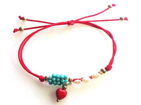 Pearls wrapped in red Love by strawberryandlime on Etsy