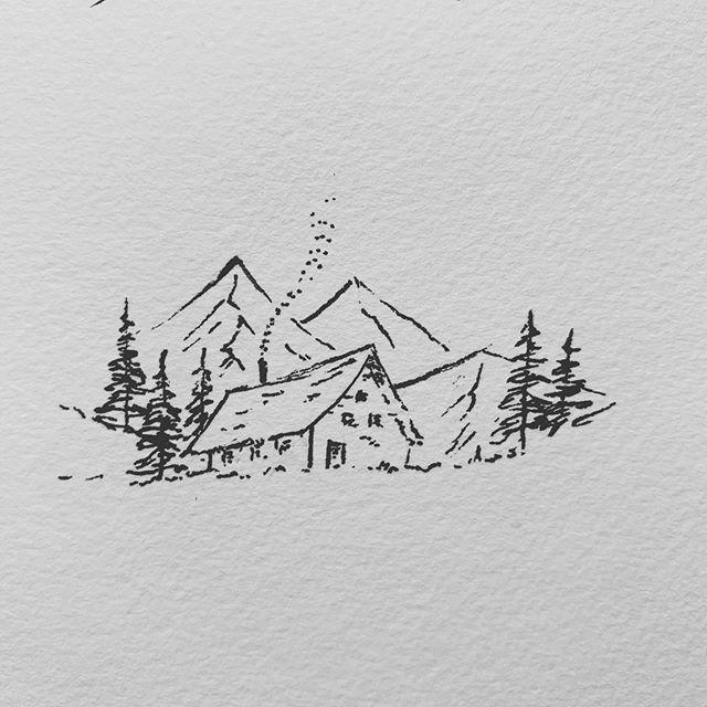 Visited Shirakawa Go Yesterday And I Had To Draw A Cabin In The Mountains I Think A Future Goal Is T Mountain Drawing Pen Art Drawings Mountain Drawing Simple