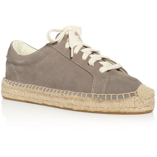 Soludos Women's Tennis Platform Espadrille Lace Up Sneakers (£135) ❤ liked on Polyvore featuring shoes, sneakers, dove gray, lace up espadrilles, platform espadrille sneakers, platform lace up shoes, tennis trainer and tennis sneakers