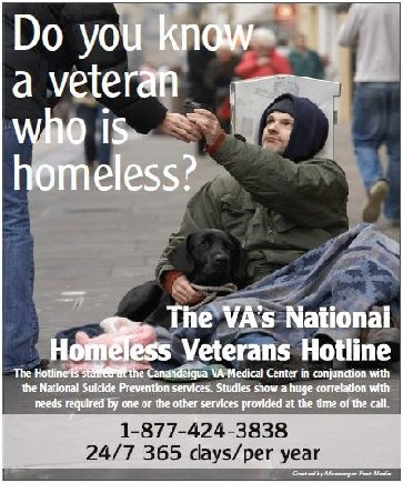 VA's National Homeless Veterans Hotline 1-877-424-3838 24/7/365