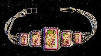Grapes Bracelet Russian Enamel Jewelry by RussianRostovJewell on Etsy