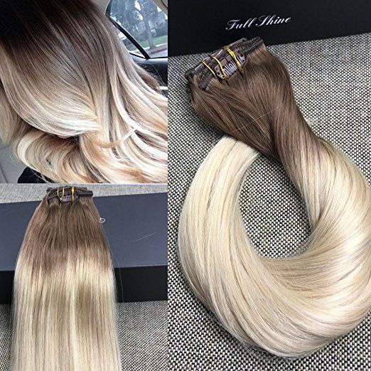 7Pcs50G Color6B Fading to 613 Blonde Ombre Balayage Extensions Clip in Extension #FullShine #Balayage