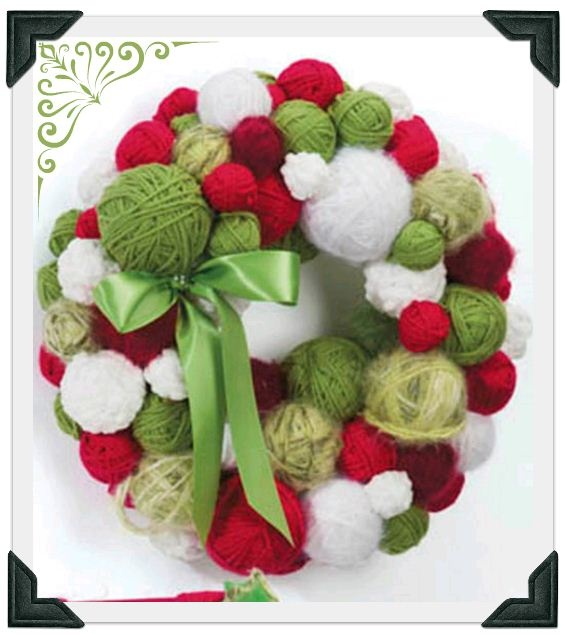 #12Pins project: Yarn Ball Wreath - so cute!