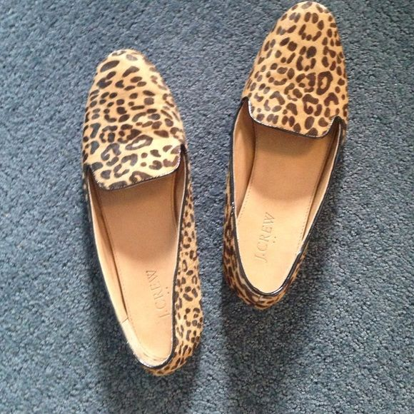 Jcrew leapord cheetah flat loafers Really cute used flats. Hair and shape are still in great condition. J. Crew Shoes Flats & Loafers