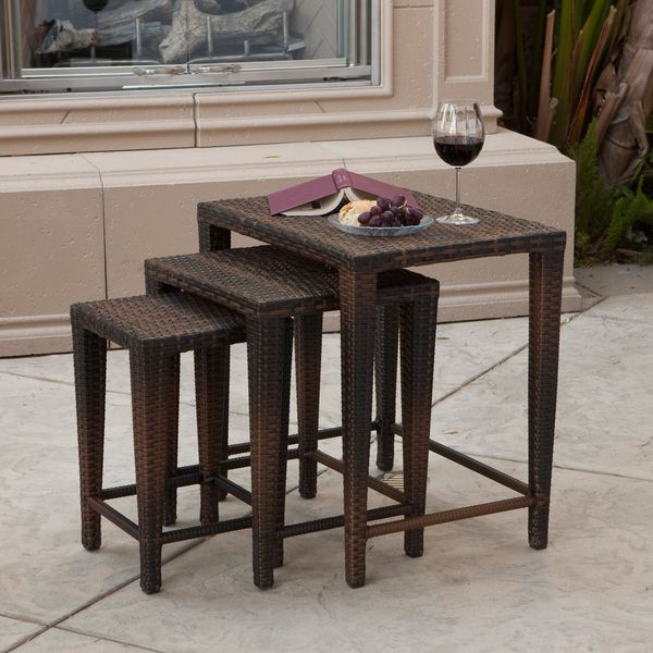 High Quality Christopher Knight Home Outdoor Brown Wicker Nested Tables (Set Of 3)    Overstock™