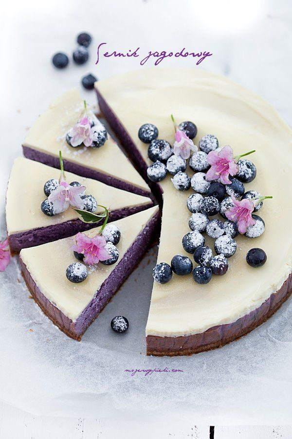 We love the way this cake is decorated on the top! The little extra touches makes it special for a Blueberry cheesecake