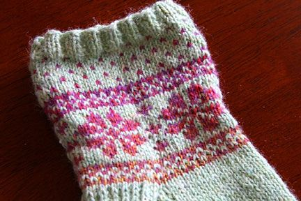 Fair Isle Flower Sock