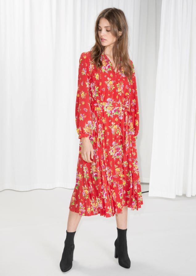 Other Stories Image 1 Of Floral Pleated Midi Dress In Red Red Floral Dress Midi Dress Pleated Midi Dress