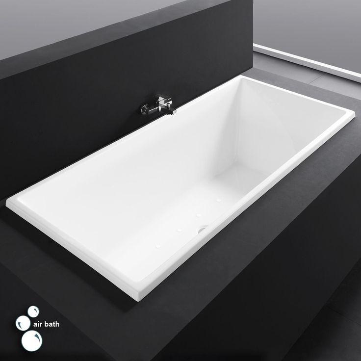 """59"""" Escalot Acrylic Drop-In Air Tub - White"""