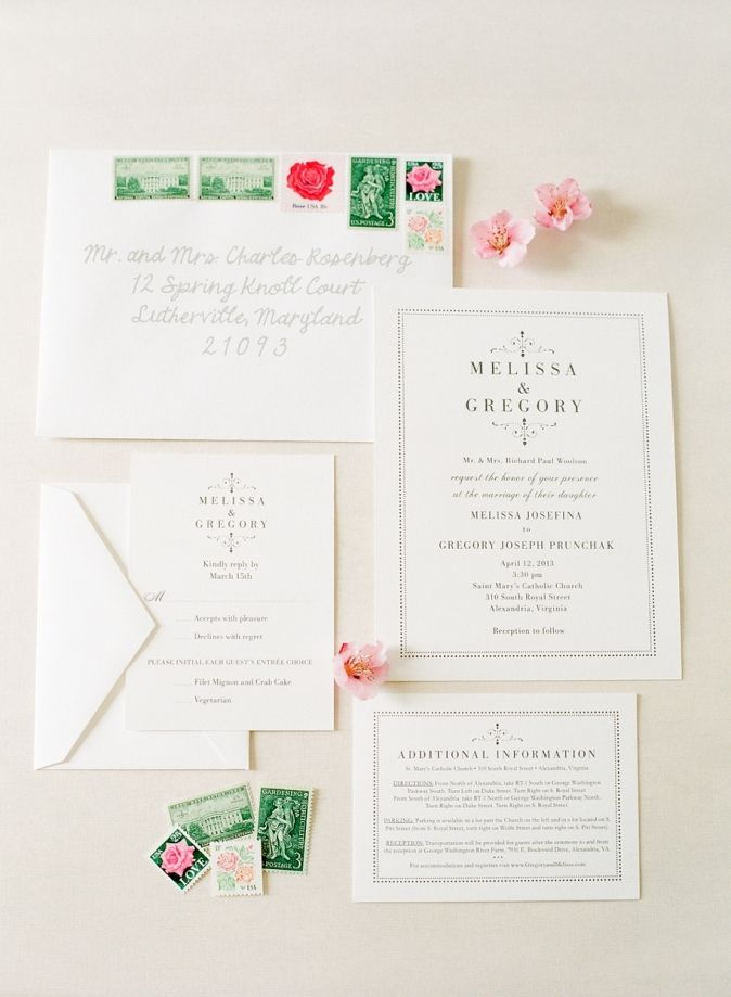 what information do i need on wedding invitations%0A Wedding Invitation Suite Melissa  u     Greg  u     a Spring River Farm wedding