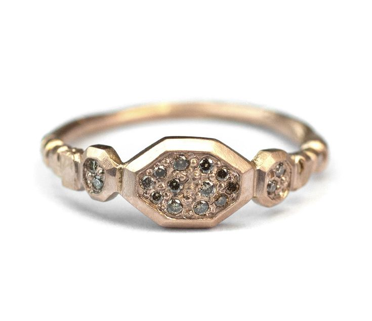 18ct Pink Gold | Grain Set Champagne Diamonds | Hand Engraved    If you require a different metal, stone combination or would simply like to   enquire about this piece, please send us anemail.    If you are unsure of your ring size, please clickherefor help.