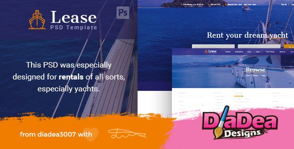 Lease - Boat & Yacht Rentals PSD Template by diadea3007  Lease was especially created for all type of rental website niches. It has integrated bootstrap grid, which makes development process faster. This is a PSD Template especially designed for the rental of boats, bikes, cars, carav