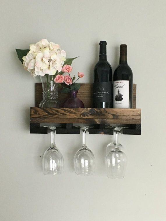 "16"" (Narrow/Short) Rustic Wood Wine Rack Shelf & Stemware Glass Holder Organizer Unique"