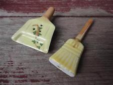 Vintage Arcadia Miniature Broom and Dustpan Figural Salt & Pepper Shakers Set