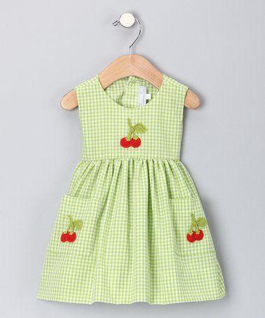Lime Cherry Gingham A-Line Dress - Infant & Toddler #zulily #zulilyfinds
