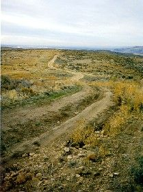 A short piece of the Oregon Trail still exists a few  miles east of Boise, Idaho. Photo courtesy Boise  State University.